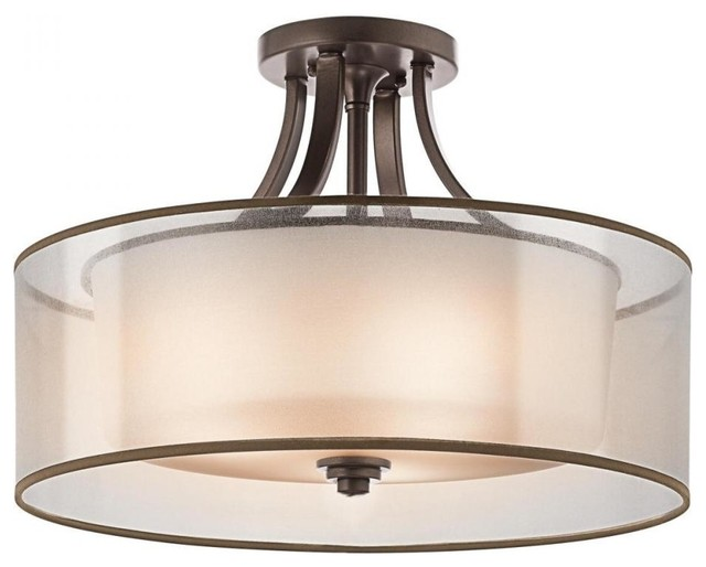 Kichler Lacey 4 Light Mission Bronze Drum Shade Semi Flush Mount