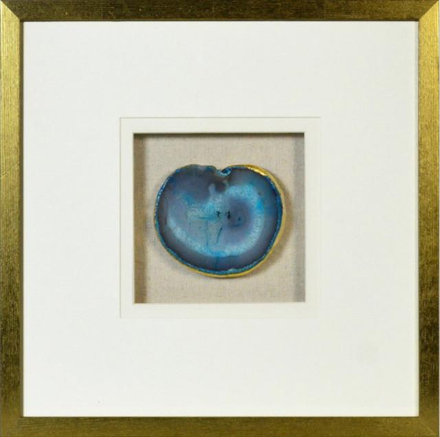 Modern Natural Agate Wall Decor, Gold Frame, Blue