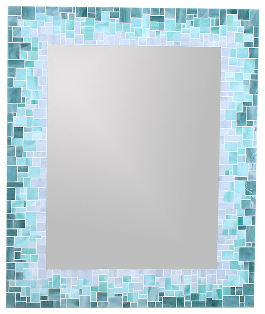 Beau Sunburst Mirror In Glass Mosaic Tiles Of Blue, Green And Grey Glass Tiles,  16x20
