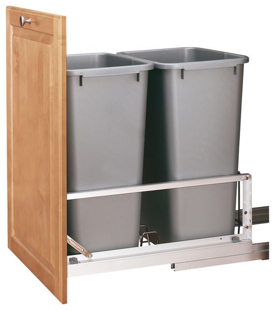 rev a shelf 50qt double pull out waste bin traditional. Black Bedroom Furniture Sets. Home Design Ideas
