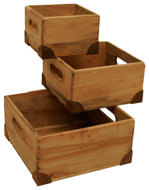 Wald Imports Natural Pine Wood Decorative Crates Boxes Set Of 3 Farmhouse Storage