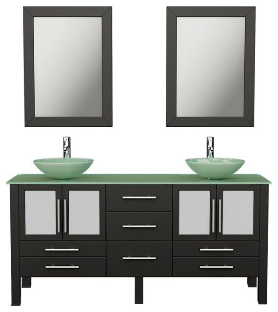 Oregon 63 Espresso Tempered Glass Double Vanity Set Contemporary Bathroom Vanities And Sink Consoles By The Tub Connection