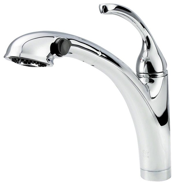 765 Pull Out Spray Kitchen Faucet, Chrome Contemporary Kitchen Faucets