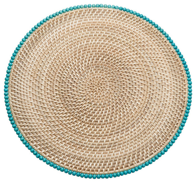 Round Rattan Placemats With Wood Beads Set Of 2 Beach Style Other By KOUBOO