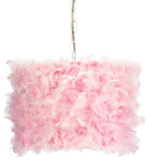 pink feather drum pendant light - Drum Pendant Lighting