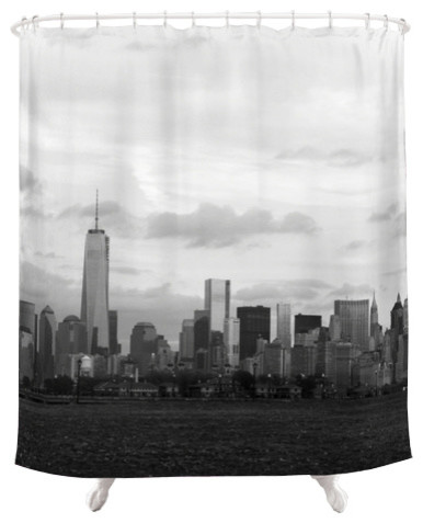 Curtains Ideas black cloth shower curtain : Manhattan Skyline, Fabric Shower Curtain - Shower Curtains - by ...