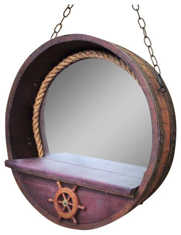 Captain S Porthole Mirror With Rope In 1 4 French Wine Barrel Natural Red