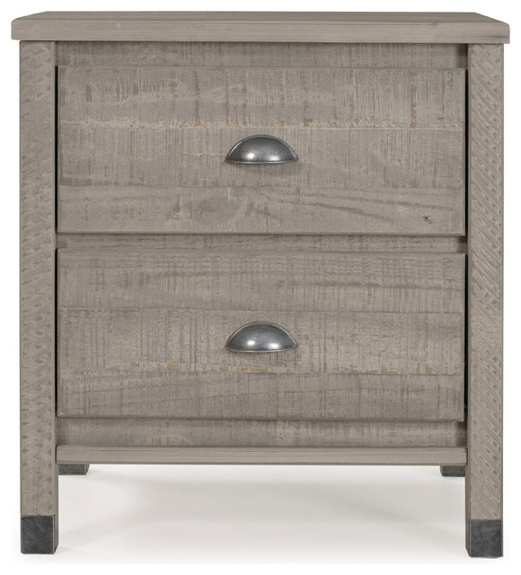 Baja 2-Drawer Night Stand, Rustic Gray.