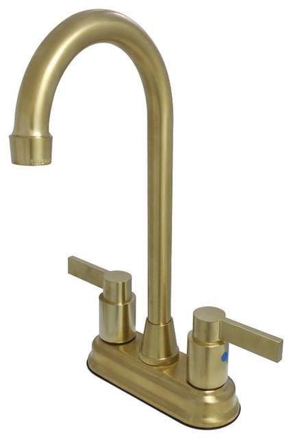 """Kingston Brass 4"""" Centerset Bar Faucet, Brushed Brass"""