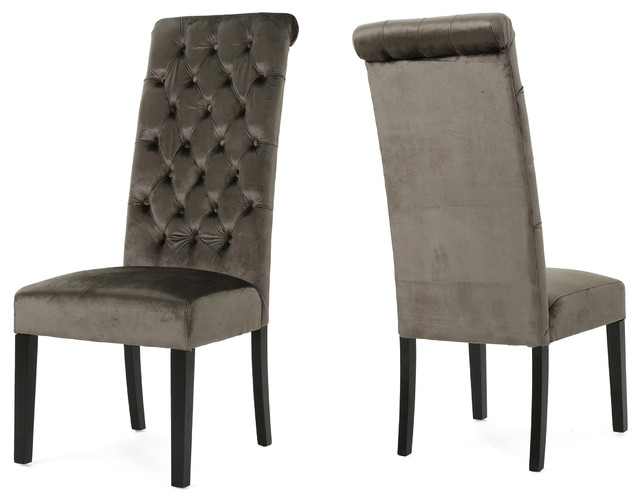 Grey Velvet High Back Dining Chairs: Leona Tall Back Tufted New Velvet Dining Chairs, Set Of 2