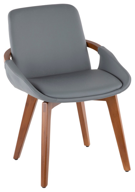 Lumisource Cosmo Chair, Walnut and Gray PU Leather