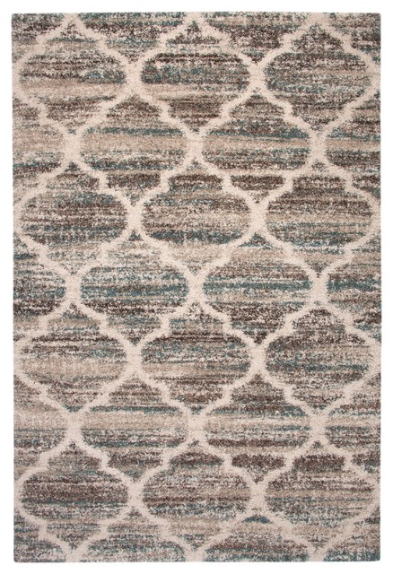 Rectangle Abacasa Granada Trellis Area Rug, Blue/brown/tan, 63x90.