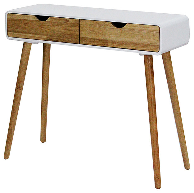 Console Table With 2 Drawers, White