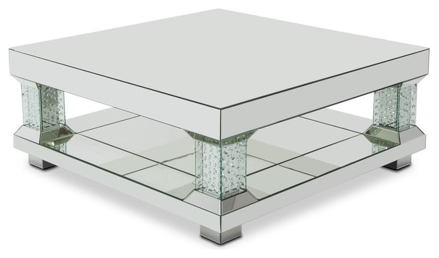 Alico Michael Amini Montreal Mirrored Cocktail Table Crystal