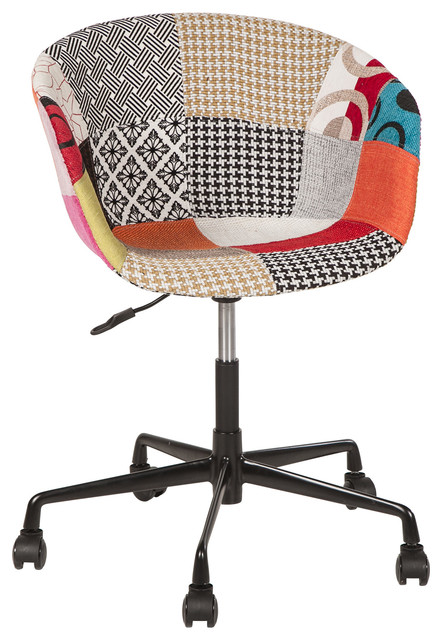Danish Mid Century Modern Multicolor Patch Fabric Upholstery Office Chair