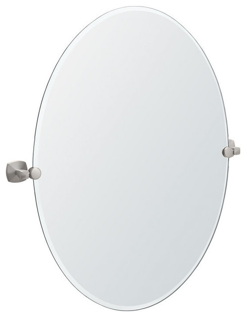 Gatco Large Oval Titling Wall Mirror In Satin Nickel.