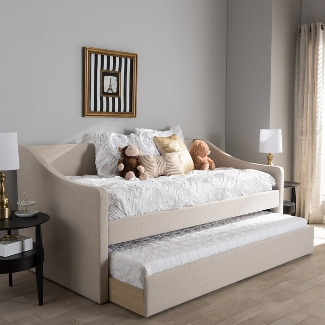 Barnstorm Modern Beige Fabric Upholstered Daybed With Guest Trundle Bed