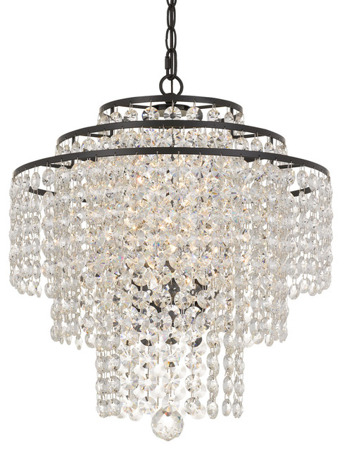 "Elight Design Crystal 18"" Wide Bronze Chandelier"