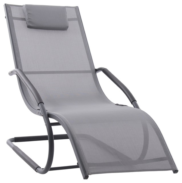 Wave Outdoor Chaise Lounge, Grey