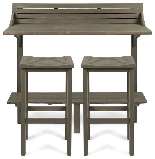 GDF Studio 3-Piece Cassie Outdoor Acacia Wood Balcony Bar Set, Gray Finish