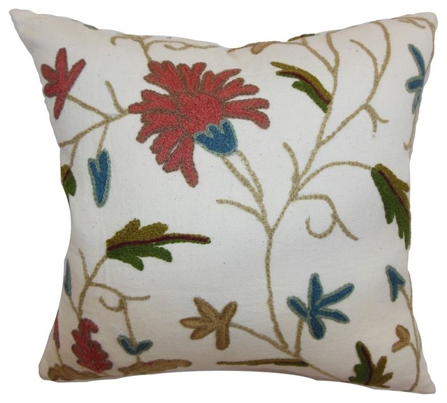 Silvia Floral Pillow Rust Blue Contemporary Decorative Pillows Adorable Rust Decorative Pillows