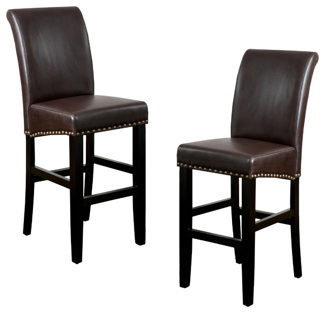 Leather counter stool set of 2 ivory contemporary bar stools - Clifton Leather Bar Stool Set Of 2 Contemporary Bar