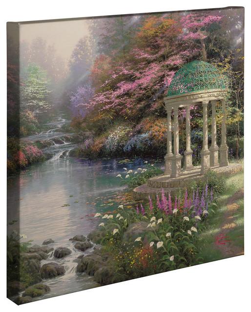 Thomas Kinkade Lamplight Bridge 20 x 20 Gallery Wrapped Canvas
