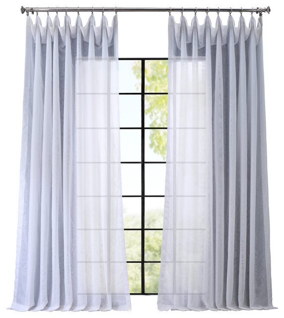 Signature Double Wide White Sheer, Long White Sheer Curtains