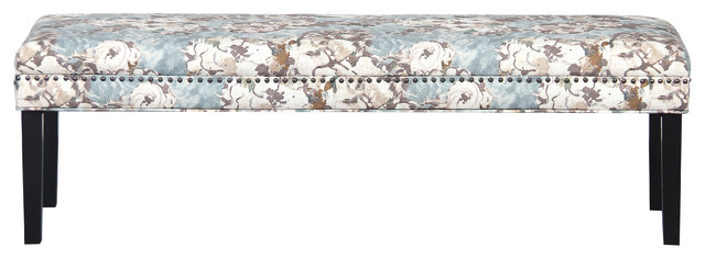 Primrose Sky Floral Bed Bench With Nail Head Trim.