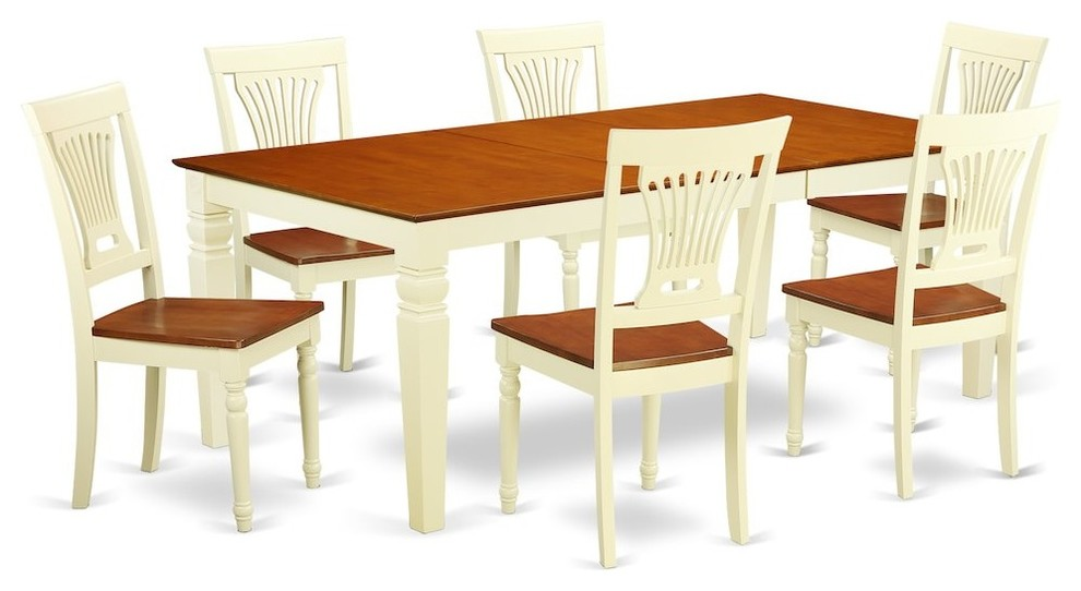 7-Piece Kitchen Table Set With a Dining Table and 6 Chairs, Buttermilk