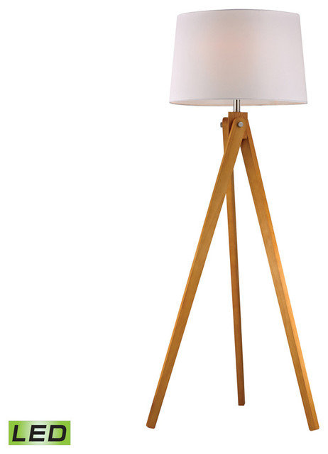 Wooden Tripod 1-Light Led Floor Lamp In Natural Wood Tone.