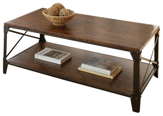 Steve Silver Winston 4 Piece Coffee Table Set In Distressed Tobacco