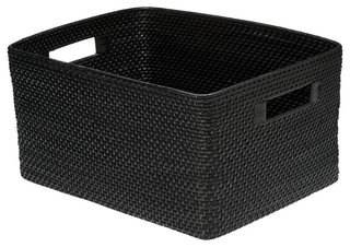 Rectangular Rattan Storage Basket, Black   Tropical   Baskets   Other   By  KOUBOO