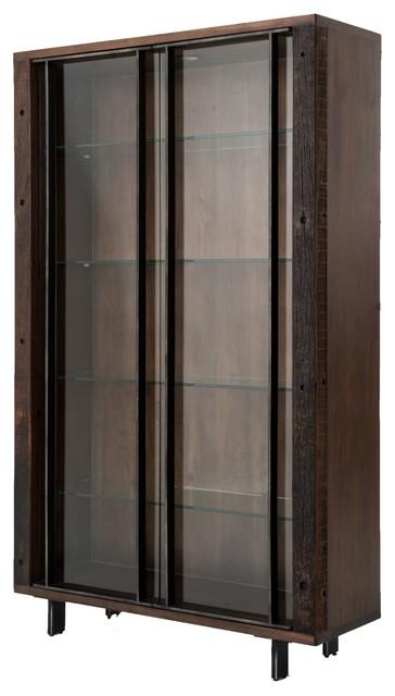 Geoff Dark Reclaimed Wood Cabinet With Glass Doors.