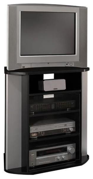 Bush Visions Corner Tv Stand In Black With Metal Silver Finish