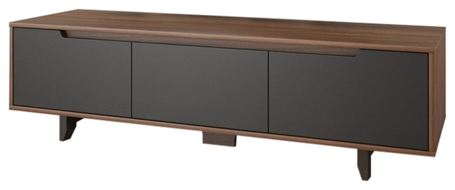 "Burgos 60"" Tv Stand, Walnut And Charcoal."