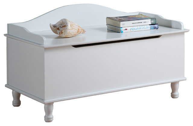 Pink Fairy Wishes Bench Seat With Storage Toy Box Seating: White Finish Wood Storage Bench Toy Box/Chest