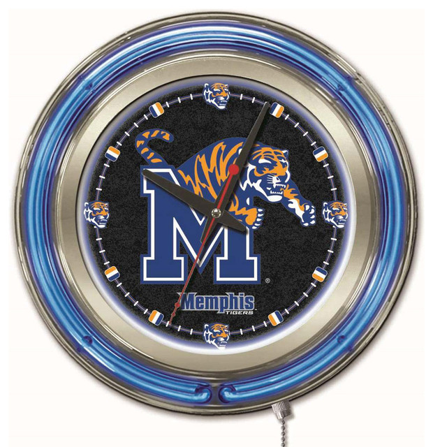 Wall Clocks With Neon Lights : Memphis Tigers Neon Light Clock - Contemporary - Wall Clocks - by Team Sports