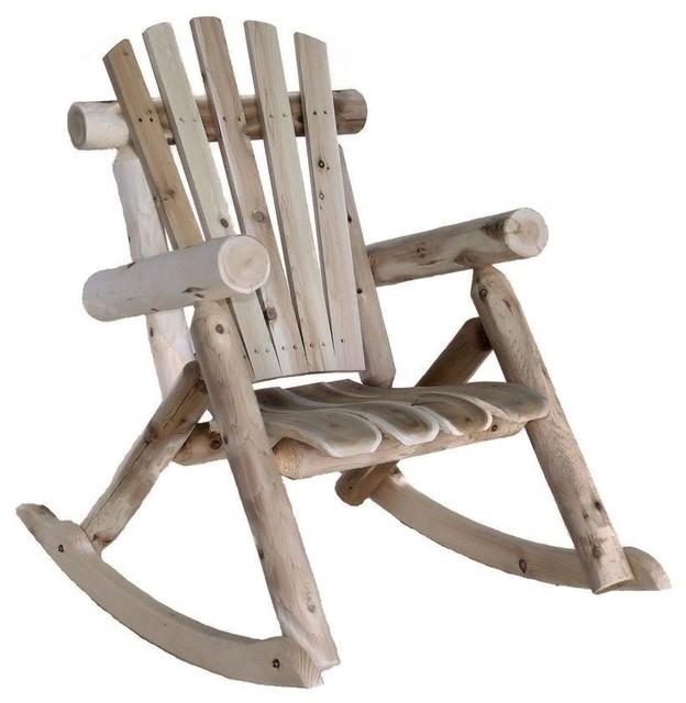 Weather Resistant Cedar Log Rocking Chair