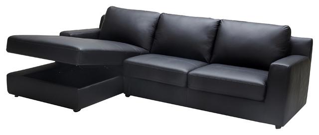 Elizabeth Premium Black Leather Sectional Sleeper With Storage In