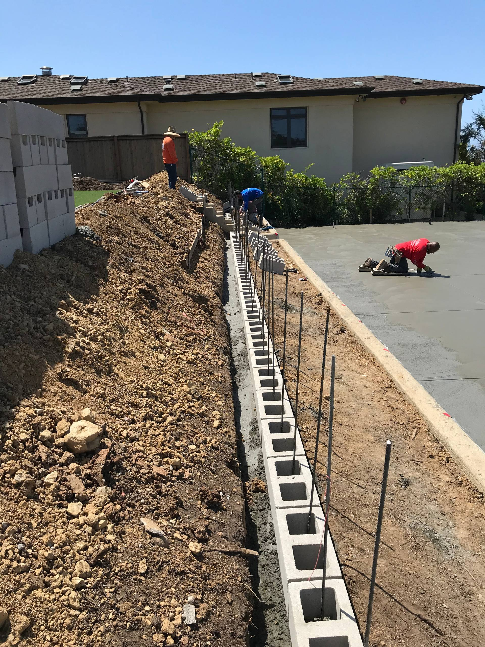 Retaining Wall and Concrete Slab