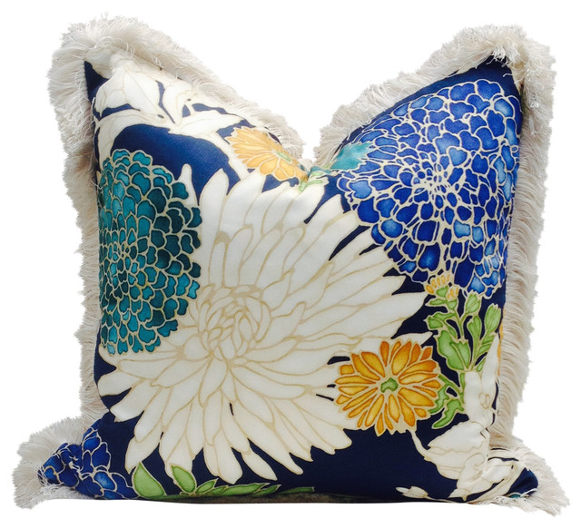 """Flower Print Pillow Cover With Pearl Fringe, 18""""x18"""""""