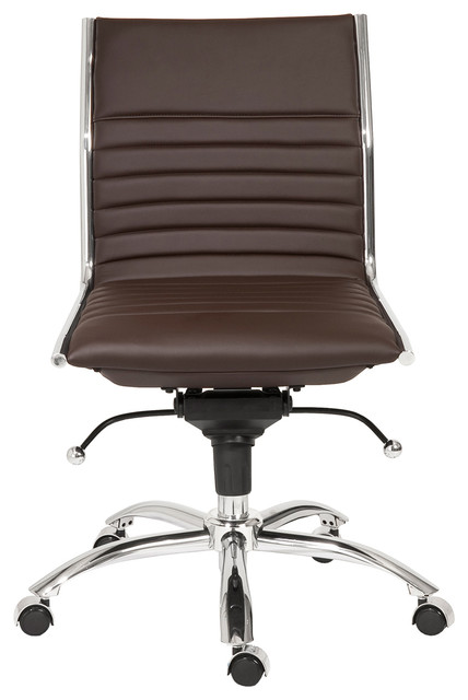 Armless Brown Leatherette Modern Office Chair