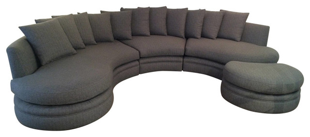 Consigned Sectional Round Sofa Midcentury Sectional