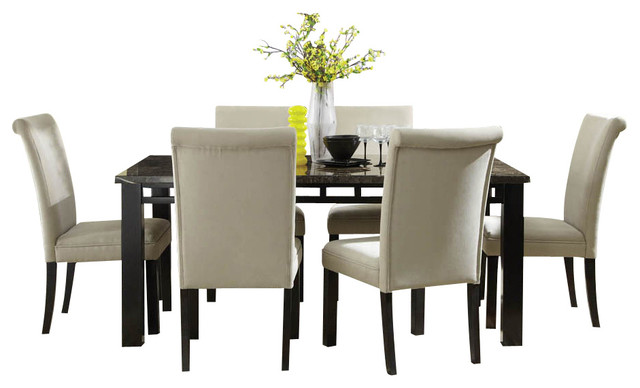Standard Furniture Gateway Grey 7 Piece Dining Room Set With Parsons Chairs Traditional
