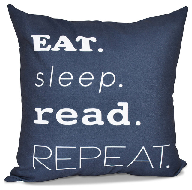 My Mantra, Word Print Outdoor Pillow - Contemporary - Outdoor Cushions And Pillows - by E by Design