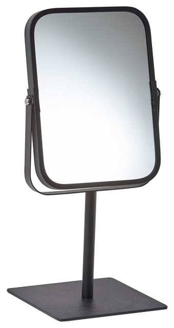 Moon Stainless Steel Free Standing 2x Magnifying Mirror, Black.