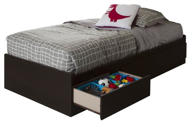 Kids Twin Mates Bed With 3-Drawer, Chocolate Finish.