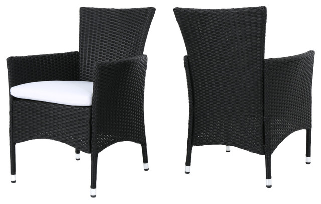 Curtis Outdoor Wicker Dining Chairs With Cushions, Set Of 2, Black/white.