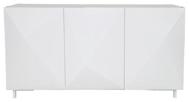 Modern White Pop Color 3-Door Credenza.